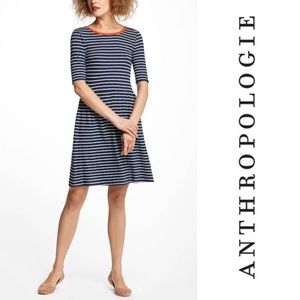 Anthropologie Navy Striped Fit & Flare Dress Small